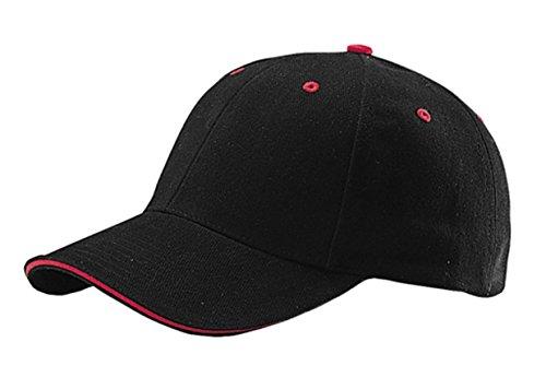 Sandwich Twill Brushed Cotton (G Men's Low Profile Brushed Cotton Twill Adjustable Cap with Sandwich Bill (Black Red))