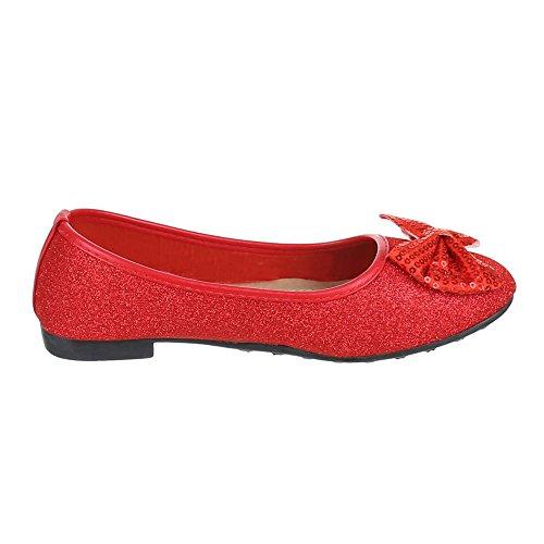 Ital-Design - Bailarinas de Material Sintético para mujer Rojo - rojo