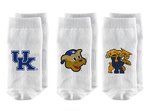 Strideline NCAA Kentucky Wildcats Infant Baby Socks, White, 3-Pack, Size 0-12 Months