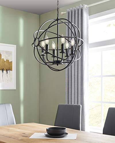 BELLEZE 5 Lights Industrial Vintage Globe Sphere Orb Ceiling Lighting Chandeliers Fixture (Black)