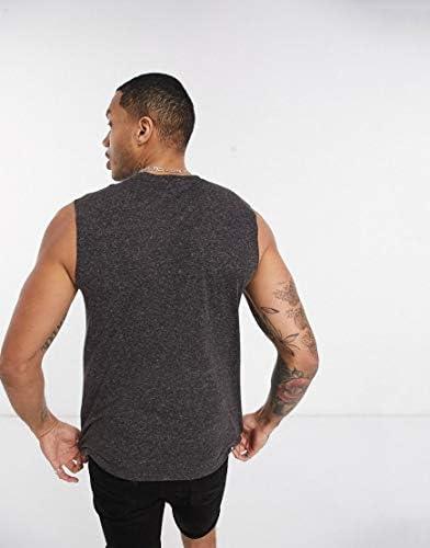 エイソス タンクトップ ノースリーブ アームホール メンズ ASOS DESIGN tank vest in black linen mix [並行輸入品]