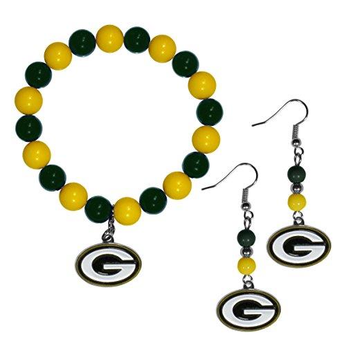 Siskiyou NFL Green Bay Packers Fan Bead Earrings & Bracelet Set]()