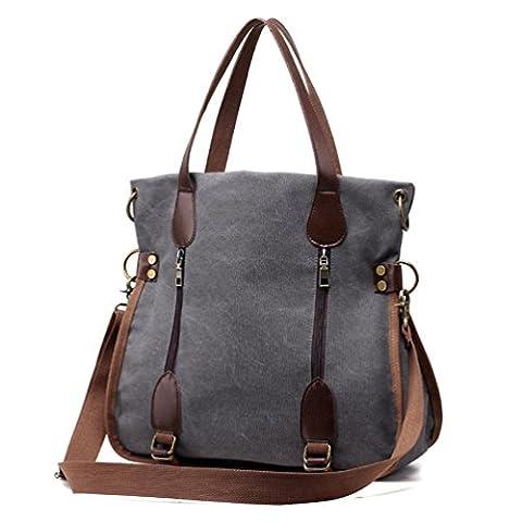Women's Canvas Tote Bag Top Handle Bags Crossbody Messenger Bag Shoulder Handbag (Gray)