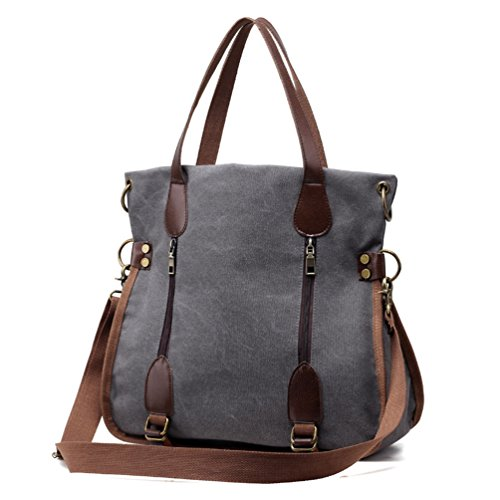 Canvas and Leather Tote Bag: Amazon.com