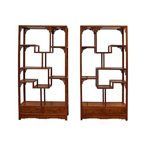 Chinese Pair Rosewood Display Curio Cabinets Room Divider Acs4947