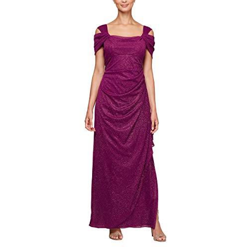 - Alex Evenings Women's Long Cold Shoulder Dress (Petite and Regular Sizes), Berry, 4