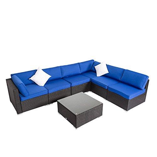 Peach Tree 7 PCs Garden Furniture PE Rattan Wicker Sofa Sectional Furniture Cushioned Deck Couch Set Bright Blue