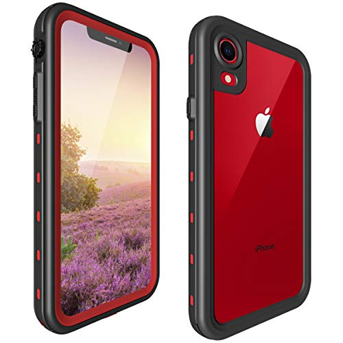 ShellBox Compatible for iPhone XR Full Body Case,Shockproof Snowproof Cover Waterproof IP68 Underwater Full Sealed Protection Built in Screen Protector Cover for iPhone Xr 6.1 Inch(Clear Red)