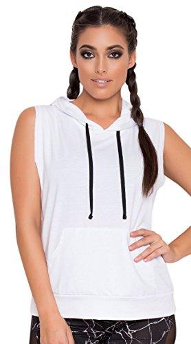 (Yandy Women's Soft Athletic Front Kangaroo Pocket Sleeveless Hoodie White)