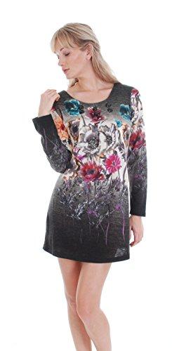 amp; FLORAL Gray S DRESS GRAY Fuchsia FUCHSIA SWEATER qEnHx0d