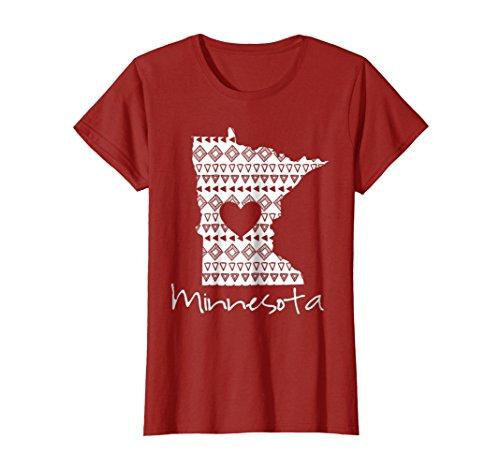 Womens Vintage Minnesota State Home Shirt I Love Minnesota Tee Large Cranberry