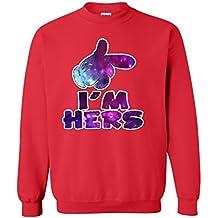 Shop4Ever Cartoon Hands I'm Hers Galaxy Crewnecks Couple Sweatshirts
