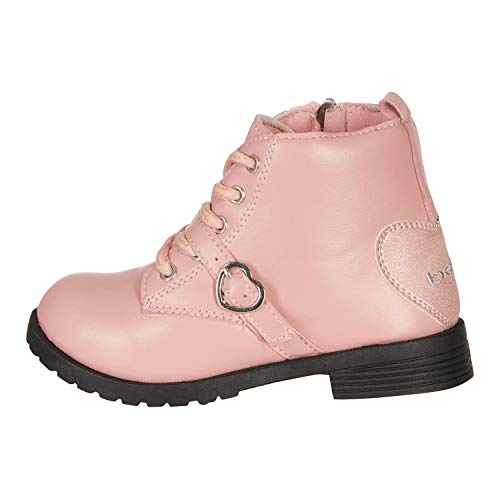 bebe Toddler Girls Lace up Combat Boots Size 6 Heart Buckle Straps Fashion PU Shoes Blush ()