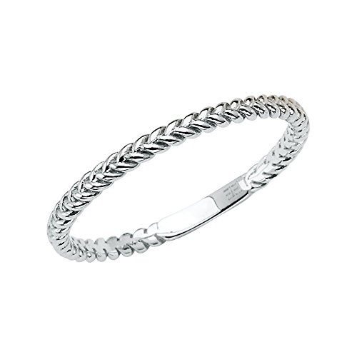 (Wellingsale Ladies 14K White Gold Braided Rope Design Wedding Ring Band - Size 7)