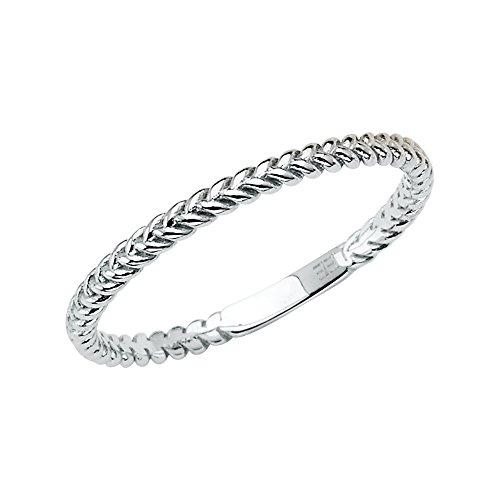 Wellingsale Ladies 14K White Gold Braided Rope Design Wedding Ring Band - Size 5.5