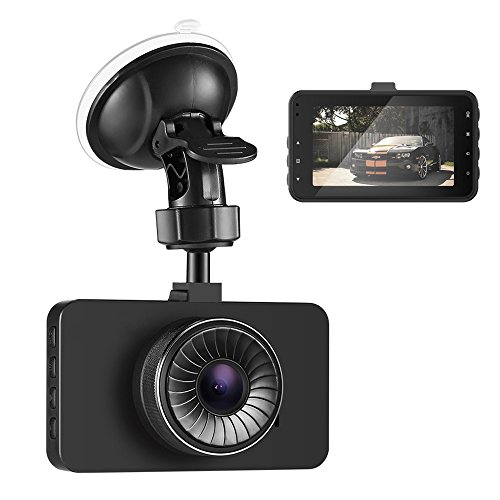 AUTOLOVER Mini Dash Cam Full HD 1080P 3 Inch IPS Screen 140 Degree Wide Angle Lens Car Driving Recorder with WDR G-Sensor Loop Recording Night Vision (Black)