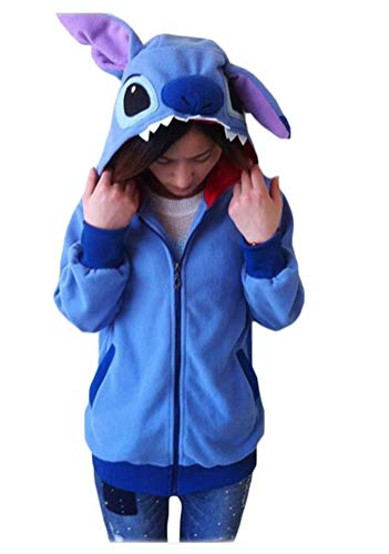 King Ma Women's Polar Fleece Cute Cartoon Animal Hoody Hoodie with Ears Coat Hoody Cosplay Royal Blue