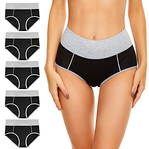 cassney Womens Underwear,High Waisted C Section Cotton Panties,Full Coverage Ladies Panties (Gray+black, s)