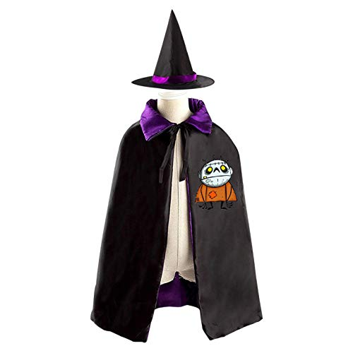 69PF-1 Halloween Cape Matching Witch Hat Ugly Clow Monster Wizard Cloak Masquerade Cosplay Custume Robe Kids/Boy/Girl Gift Purple
