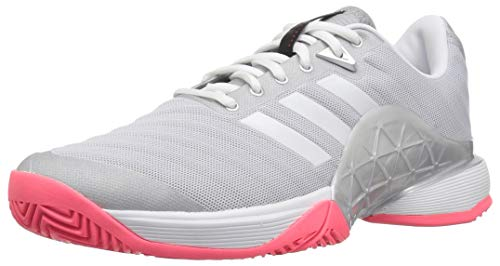 adidas Women's Barricade 2018 Tennis Shoe, Matte Silver/White/Flash red, 6.5 M US
