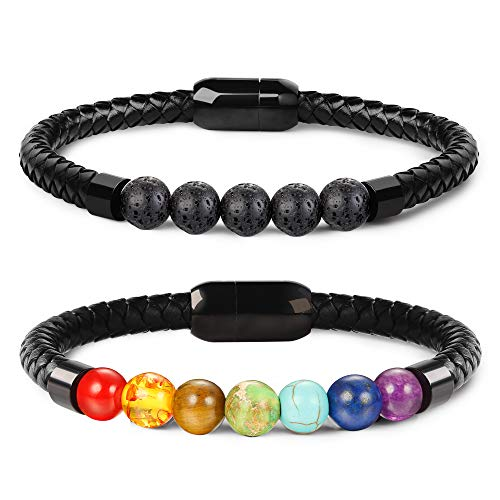 Leather Band Stones - LOLIAS 7 Chakra Lava Stone Bracelet Healing Braided Leather Bracelets for Men Women Tiger Eye Bead Magnetic Clasp