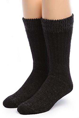 Warrior Alpaca Socks – Women's Toasty Toes Ultimate Alpaca Socks (Large, Black Heather)