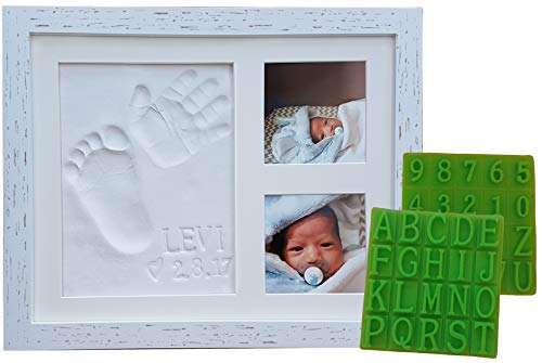 Distressed Baby Handprint & Footprint Picture Frame Kit – Rustic 9″ x 11″ Wood Photo Frame & Clay Keepsake for Newborns. Bonus Stencil Included for a Personalized Registry, New Mom or Shower Gift.