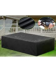 ESSORT Patio Cover, Large Outdoor Sectional Furniture Cover, Covers for 8-12 Table Chair Seat Lounge Porch Sofa Waterproof Dust-Proof Protective for Garden Loveseat, 124''x63''x29''