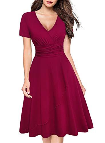 (Ranphee Womens Burgundy Modest Ruched Empire Waist Knee Length Semi Formal Wrap Dress)