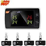 Orange Wireless Tire Pressure Monitoring System, BAR/PSI/KPA 4 Internal Sensors TPMS, Real-time Transmitter Diagnostic Alarm Function, Temperature Gauge, Cigarette Lighter LED Display for Car DIY P409S
