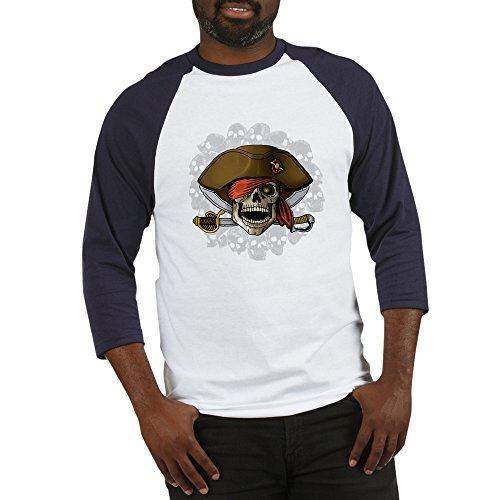 - CafePress - Pirate Skull Silver Skulls - Cotton Baseball Jersey, 3/4 Raglan Sleeve Shirt