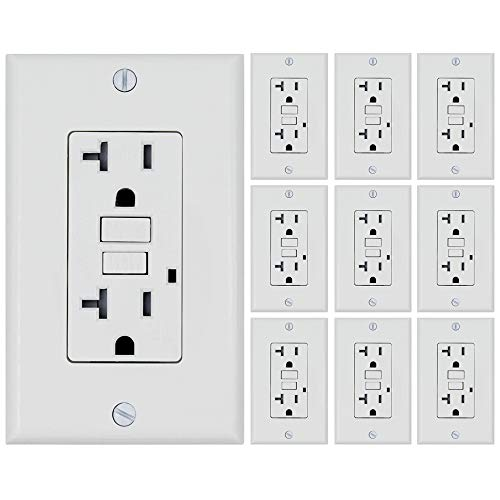 ESD Tech 20 Amp GFCI Wall Outlet Receptacle - White 10 Pack, 125 Volt Tamper Resistant Duplex with LED Indicator Light. UL Listed and Comes with Wall plate and Screws. ()