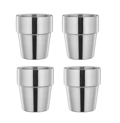LIANYU Tea Coffee Water Drinking Cup Set of 4, Portable Stacking Travel Camping Cups, Stainless Steel Double Wall Insulated - 10 oz / 300 ml
