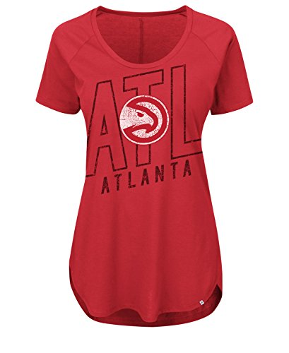 NBA Atlanta Hawks Women's Fanatic Force Short Sleeve Scoop Neck Tee, Medium, Athletic Red