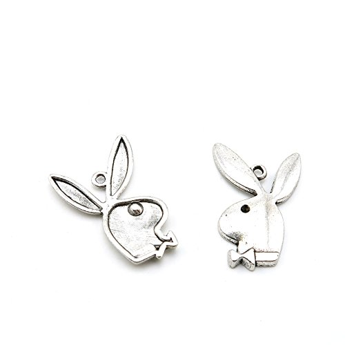 40 Pieces Antique Silver Tone Jewelry Making Charms I5JA5 Playboy Rabbit Pendant Ancient Findings Craft Supplies Bulk Lots