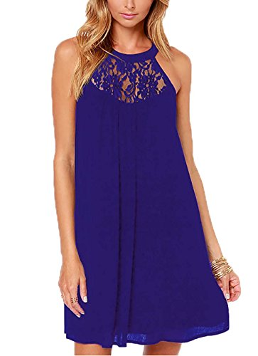 DREAGAL Ladies Sexy Back Keyhole Lace Patchwork Shift Dress Blue Medium