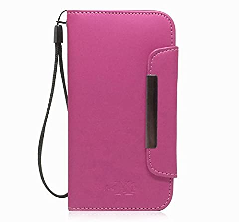 MXX PU Leather Wallet Case with Card Holder and Magnetic Clasp for Samsung Galaxy S4 Mini - Pink (Galaxy S4 Cases With Card Holder)