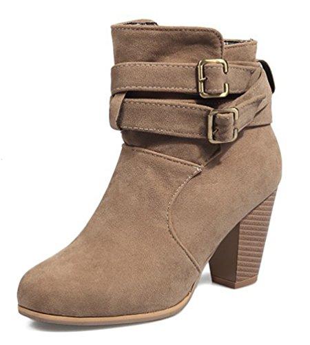 SHOWHOW Damen Nubuk Kurzschaft Chelsea Boots Mit Absatz Aprikosen 41 EU JLmaA