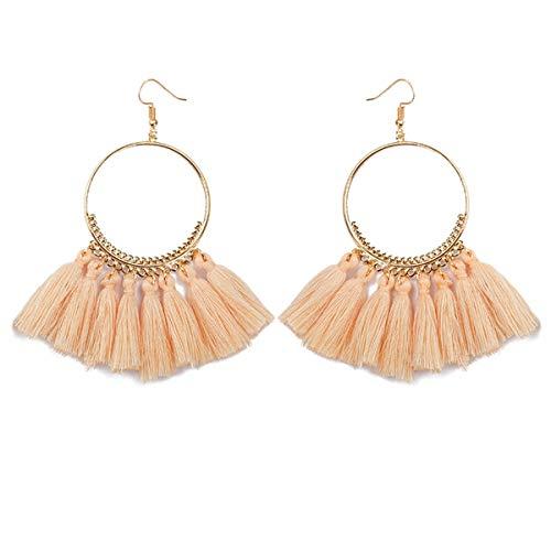 Boho Tassel Earrings Hoop Dangle Ear Drop for Women (White-2)