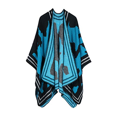 Price comparison product image Women Open Front Thick Oversized Fleece Blanket Poncho Cape Shawl Elegant Shawl Wrap Sweater for Fall Winter(Sky Blue)