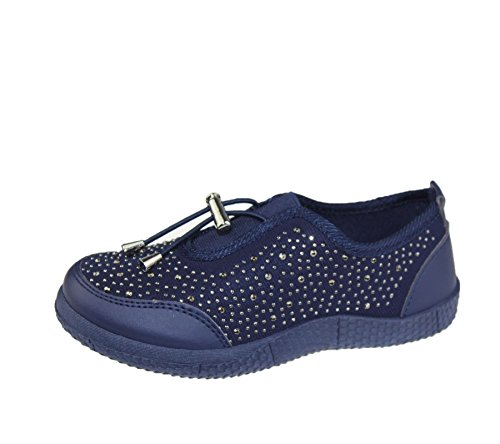 KOLLACHE Mädchen mit Verziert Schuhe Casual Walking Komfort Fashion Leinwand Trainer Dunkelblau