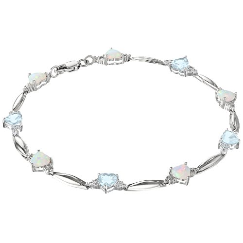 - Lavari - 5MM Heart Opal and Aquamarine .01 cttw Diamond Sterling Silver Bracelet