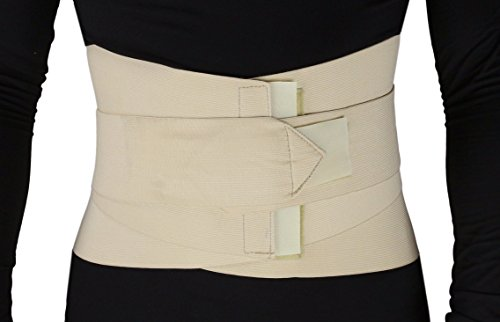 (ObboMed® MB-2530L Back, Lumbar, Abdominal Support Wrap Brace Belt with 4 Metal Stays Splints, extra double side straps adjustable for Posture, Belly, Waist, Spine, Back Pain Relief (L: 37-41 inches))