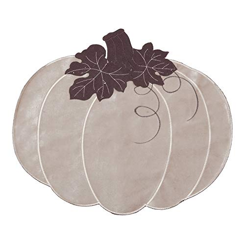 Skrantun Placemats appliqué Embroidered Table Decorations(Set of 4) Silver White Double Flannelette Pumpkin Place mats Fall Harvest Dinner Party Thanksgiving Halloween