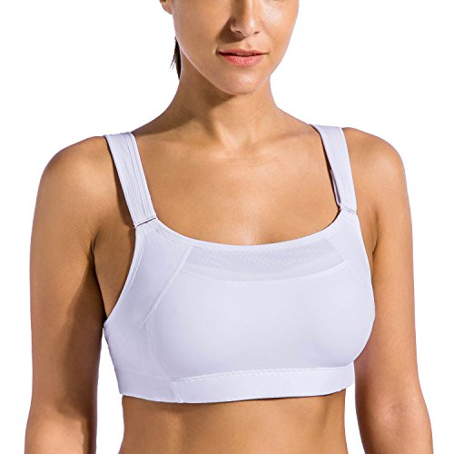 SYROKAN Women's Bounce Control Wirefree High Impact Maximum Support Sports Bra White 34DD (Coverage Moderate Back)