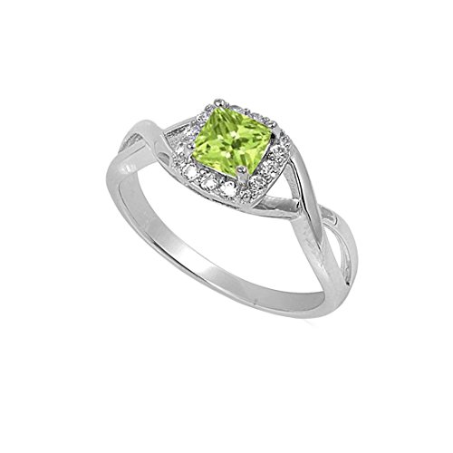 Blue Apple Co. Solitaire Infinity Shank Ring Simulated Peridot Princess Cut 925 Sterling Silver,Size-11