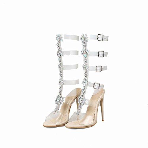 Buckles Chic Heel Women's Sandals Peep Toe apricot High Rhinestones Carolbar wfxZaWHRqa