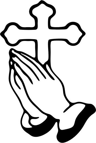 - BEARGRAPHIX Cross Praying Hands Decal Sticker Car Motorcycle Truck Bumper Window Laptop Wall Décor Size- 6 Inch Tall Gloss Black Color