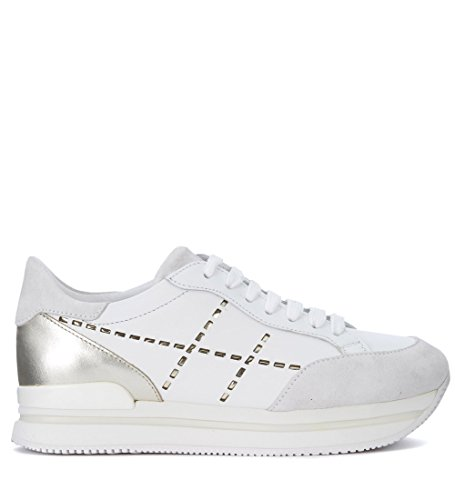 finishline for sale Hogan Women's Model H222 White and Golden Leather Sneaker White outlet free shipping cheap sale get to buy nLUO4t