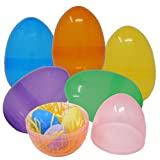 "12 Jumbo Easter Eggs - 6 1/4"" in Assorted Colors - with Bonus Gift Boutique Balloon"